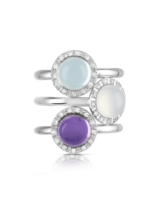 Mia & Beverly - Multicolor Gemstone And Diamond 18k White Gold Ring - Lyst