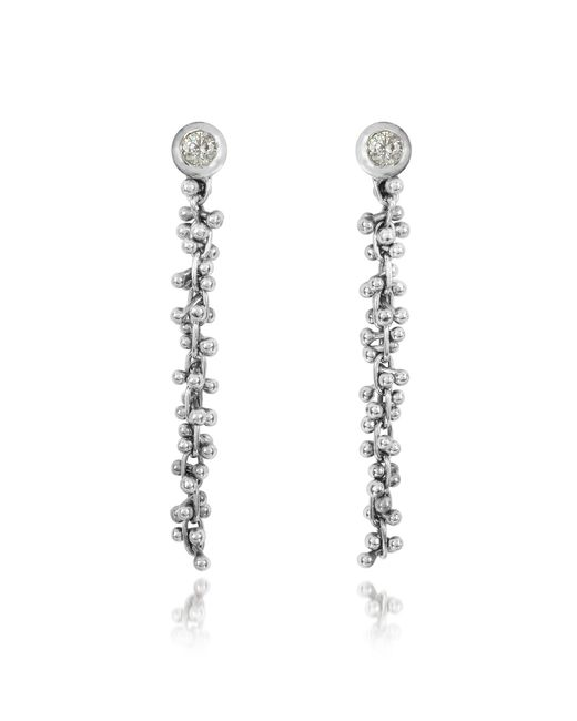 Orlando Orlandini - Metallic White Gold Cascade Drop Earrings W/diamond - Lyst