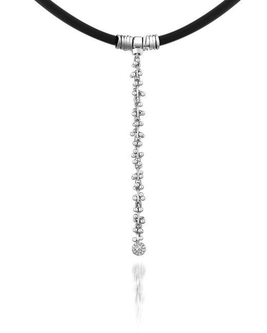 Orlando Orlandini | Metallic Flirt - Diamond Drop 18k White Gold And Rubber Necklace | Lyst