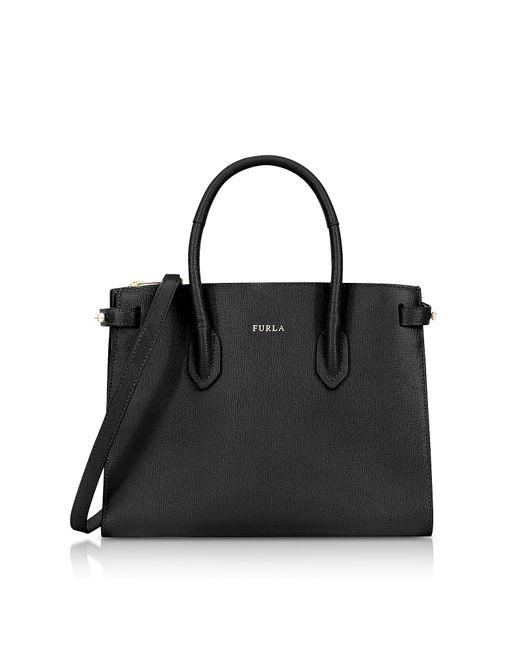 Furla - Black Onyx Leather E/w Pin Small Tote Bag - Lyst