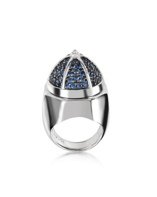 Azhar Metallic Rhodium Plated Sterling Silver Adjustable Ring W/black Cubic Zirconia