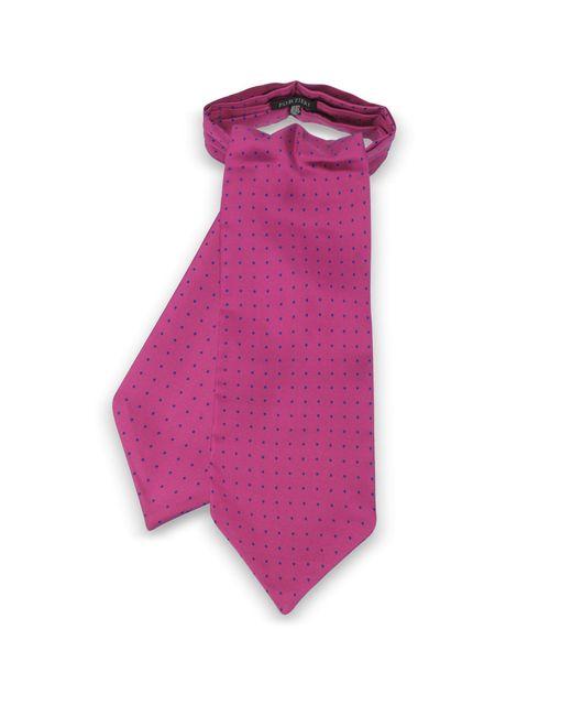 Forzieri - Purple Polkadots Print Silk Tie Ascot for Men - Lyst