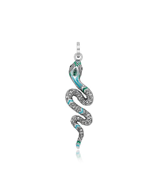 Thomas Sabo - Metallic Blackened Sterling Silver Enamel And Glass-ceramic Stones Snake Pendant - Lyst