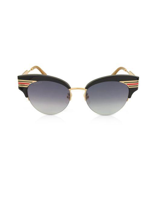 930d80e892 Gucci - GG0283S Cat Eye Black Acetate Sunglasses W sylvie Web Temples - Lyst