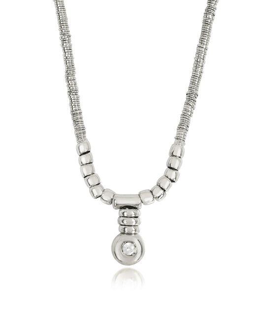 Orlando Orlandini - Metallic White Gold Chain Snake Necklace W/diamond - Lyst