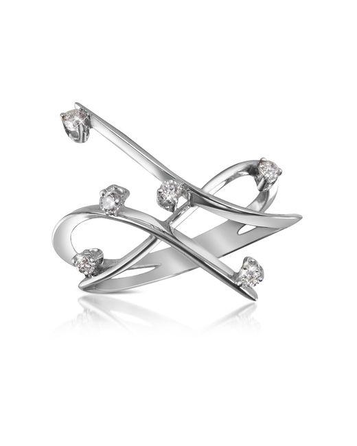 Forzieri - White 0.18 Ctw Diamond Cross-over Ring - Lyst