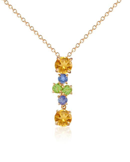 Forzieri Metallic Multicolor Gemstone 18k Gold Pendant Necklace