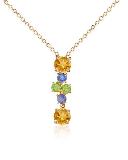Forzieri | Metallic Multicolor Gemstone 18k Gold Pendant Necklace | Lyst