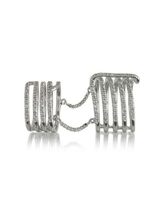 Bernard Delettrez   Seven Bands White Gold Articulated Ring W/diamonds Pave   Lyst