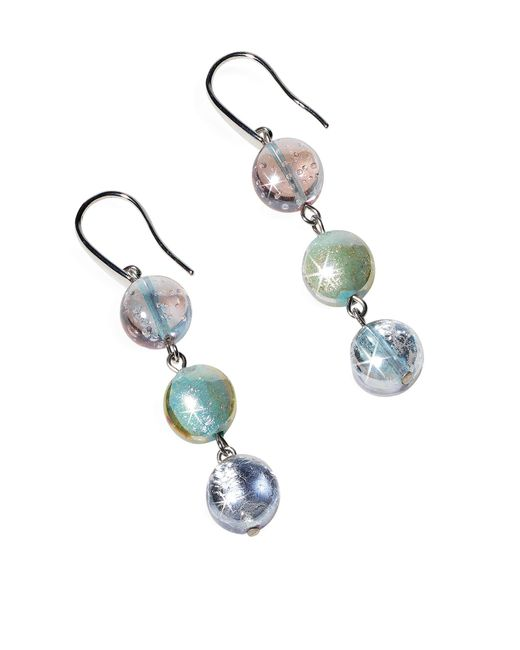 Antica Murrina | Redentore 1 - Pastel Pink And Green Murano Glass & Silver Leaf Dangling Earrings | Lyst