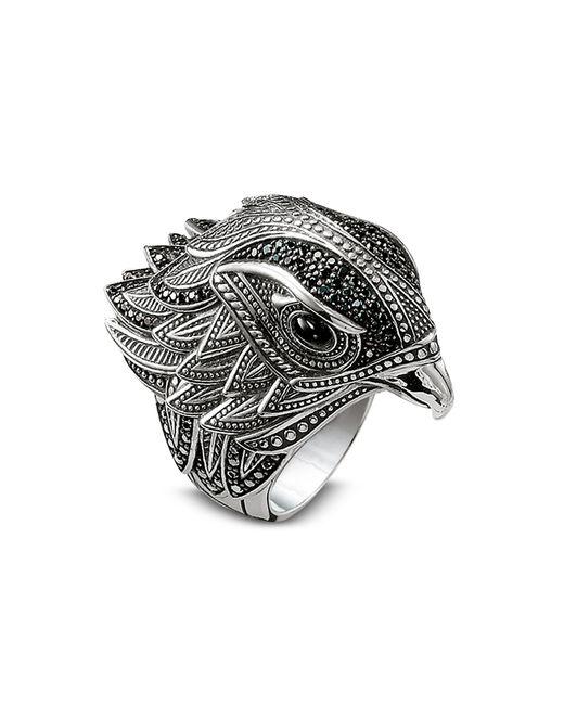 Thomas Sabo Metallic Blackened Sterling Silver Ring w/Black Cubic Zirconia
