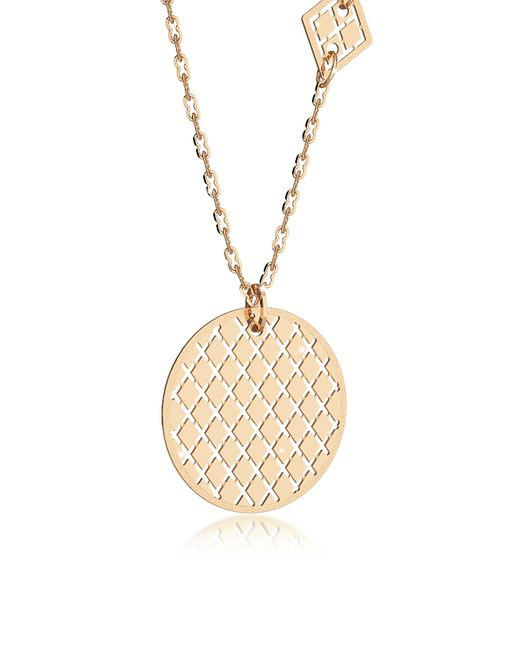 Rebecca | Melrose Yellow Gold Over Bronze Necklace W/geometric Charms | Lyst