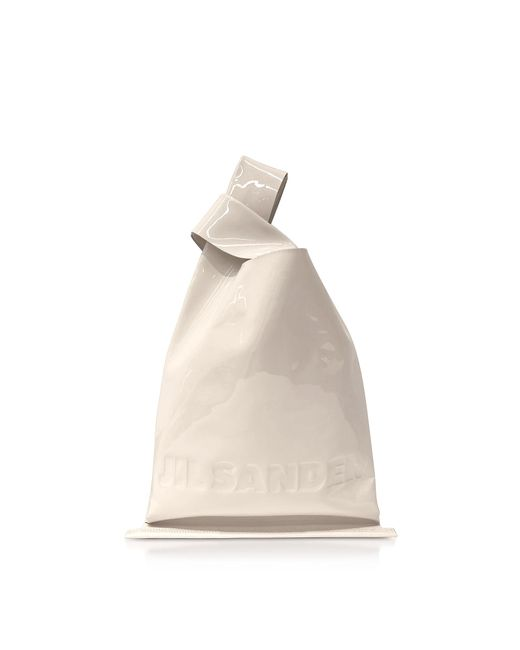 Jil Sander Natural Soft Patent Leather Market Bag