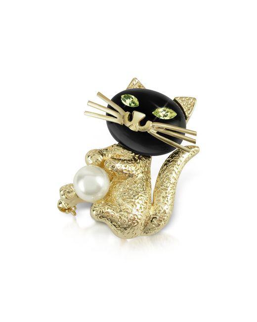 AZ Collection Metallic Green-eyed Cat Pin