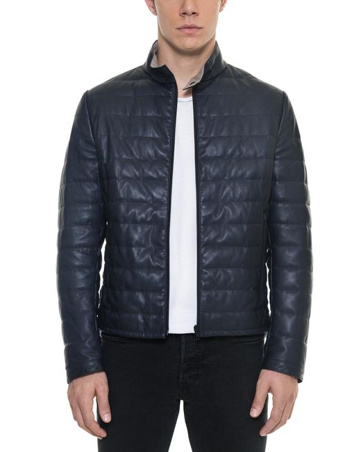 Forzieri   Dark Blue Quilted Leather Men's Jacket for Men   Lyst