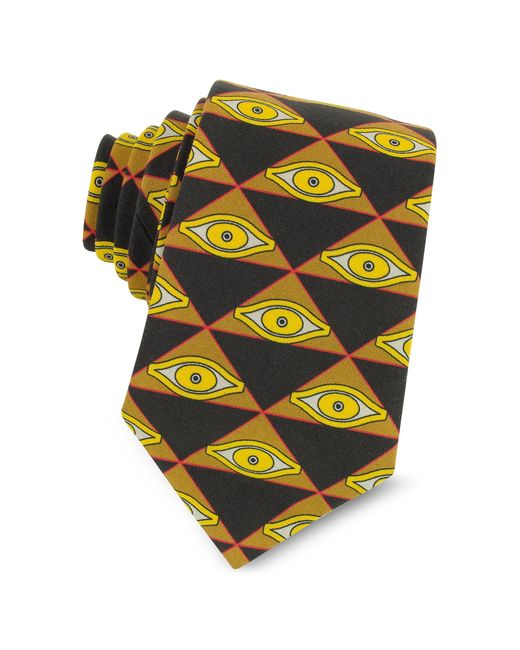 Givenchy Eyes and Triangles Printed Cotton Narrow Tie in Black für Herren