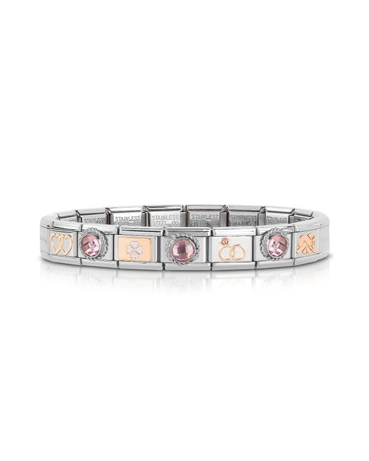 Nomination - Metallic Classic Amore Rose Gold And Stainless Steel Bracelet W/gemstone - Lyst