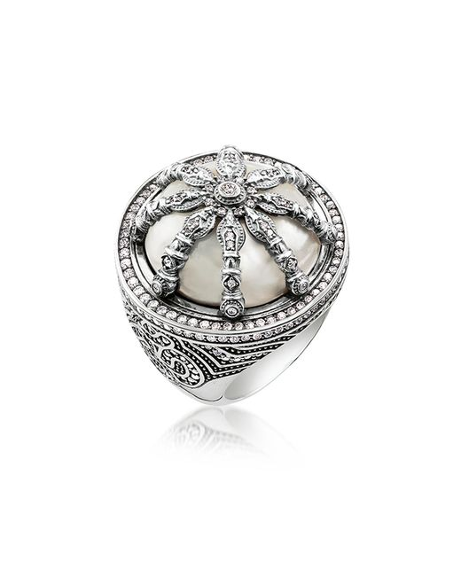 Thomas Sabo - Metallic Blackened Sterling Silver & Mother Of Pearl Ring W/white Cubic Zirconia - Lyst