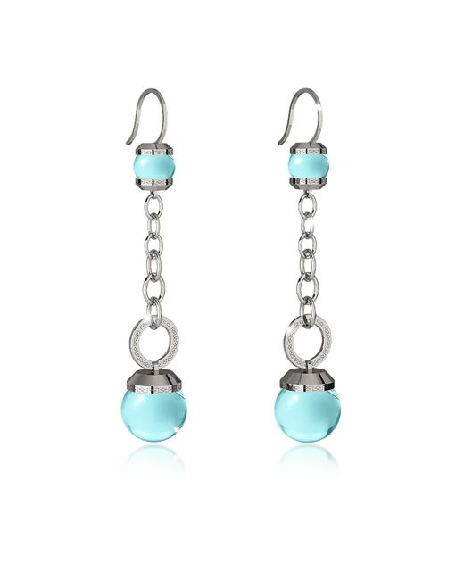 Rebecca - Blue Hollywood Stone Rhodium Over Bronze Dangle Earring W/turquoise Hydrothermal Stone - Lyst
