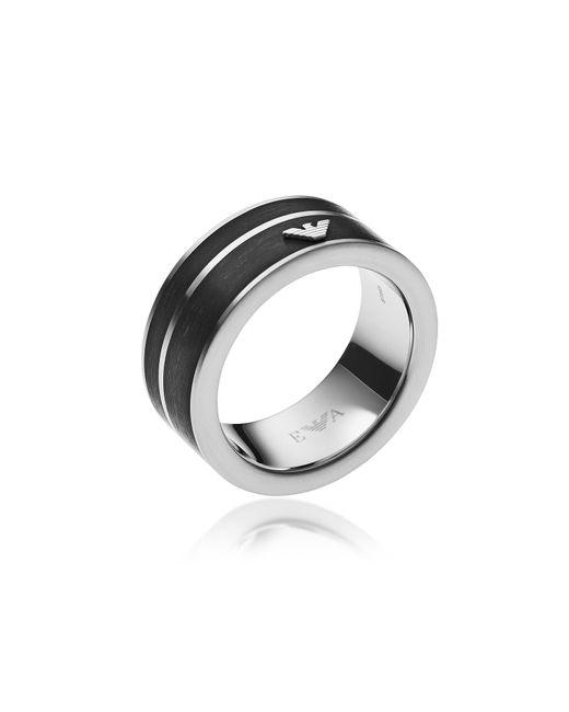 Emporio Armani Metallic Black Stainless Steel Signature Men's Ring for men