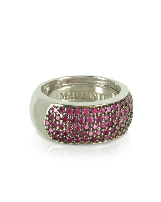 Azhar - Metallic Red Cubic Zirconia Silver Vermeil Ring - Lyst