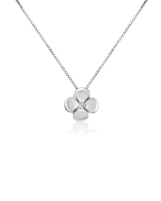 Forzieri - White 0.15 Ct Diamond Flower Pendant 18k Gold Necklace - Lyst