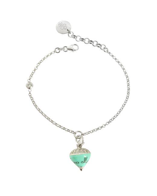 Azhar Metallic Sterling Silver And Aqua Enamel Small Spinning Top Charm Bracelet W/cubic Zirconia