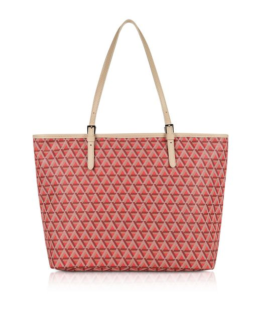 Lancaster Paris - Red Ikon Large Coated Canvas Tote Bag - Lyst