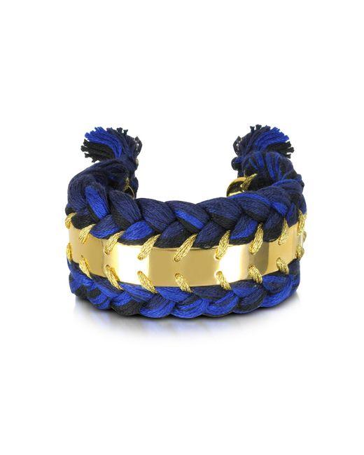 Aurelie Bidermann - Blue Copacabana Navy And Black Cotton Double Bracelet - Lyst