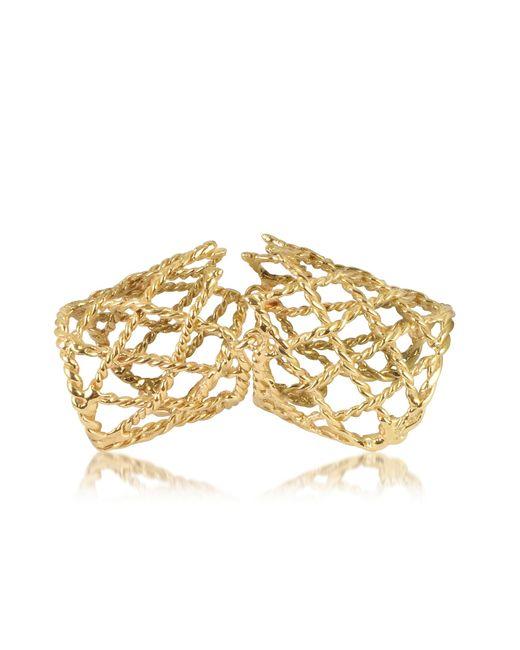 Bernard Delettrez Metallic Gold Articulated Basket Weave Ring