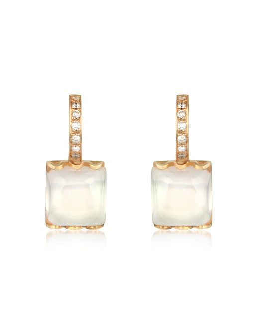 Mia & Beverly - Pink Rose Quartz And Diamond 18k Gold Earrings - Lyst
