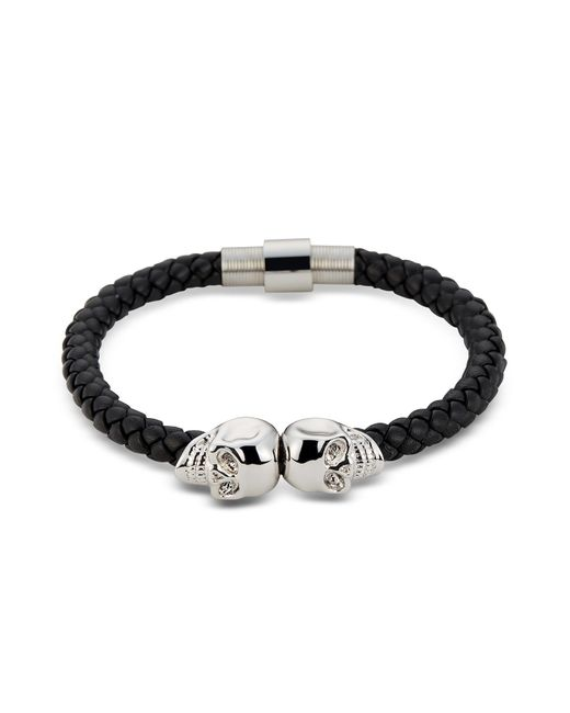 Northskull | Black Nappa Leather & Rhodium Twin Skull Men's Bracelet for Men | Lyst