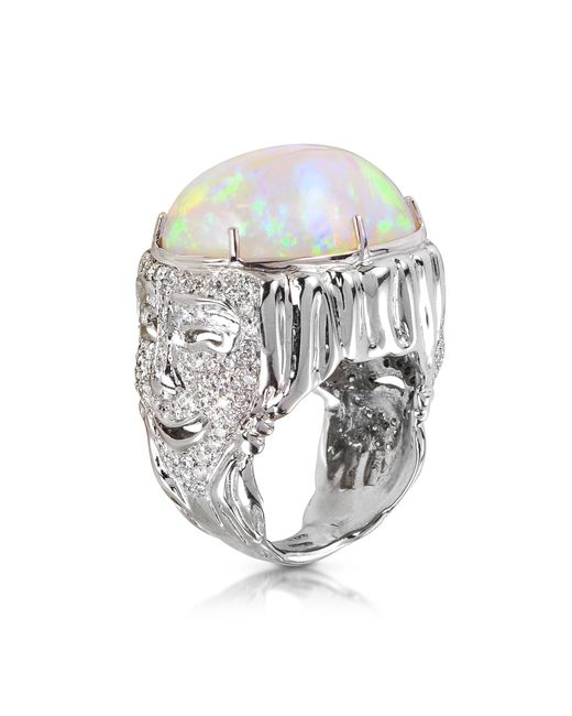 Bernard Delettrez - Multicolor Drama Masks Gold Pave Ring W/opal And Diamonds - Lyst