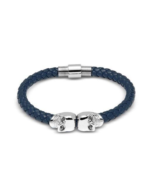 Northskull - Denim Blue Nappa Leather W/ Silver Twin Skull Bracelet for Men - Lyst