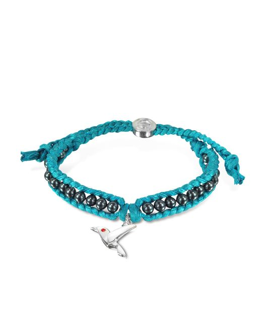 Sho London | Blue Hummingbird Friendship Silk Bracelet | Lyst