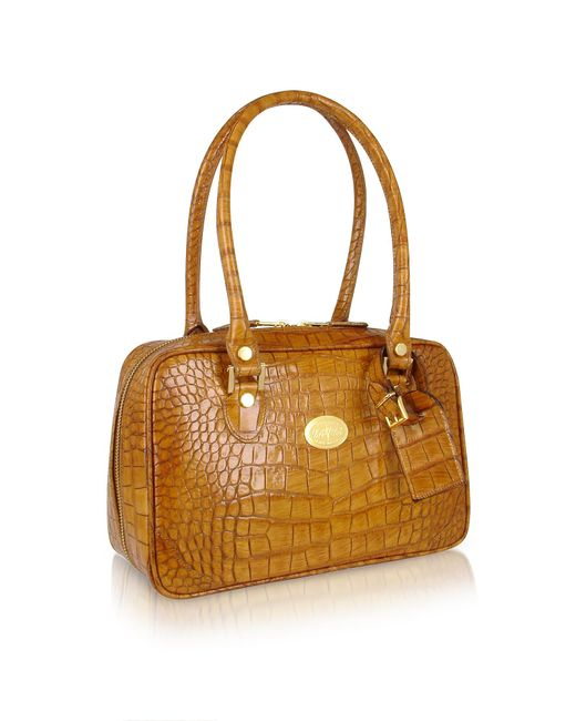 L.A.P.A. - Multicolor Camel Croco Stamped Italian Leather Shoulder Bag - Lyst