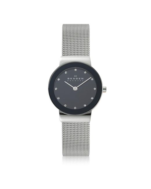 Skagen - Freja Black Stainless Steel Mesh Bracelet Women's Watch - Lyst