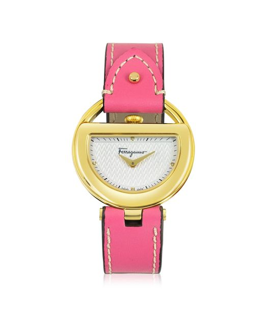 Ferragamo Metallic Buckle Collection Gold Ip Stainless Steel Case And Fuchsia Leather Strap Women's Watch