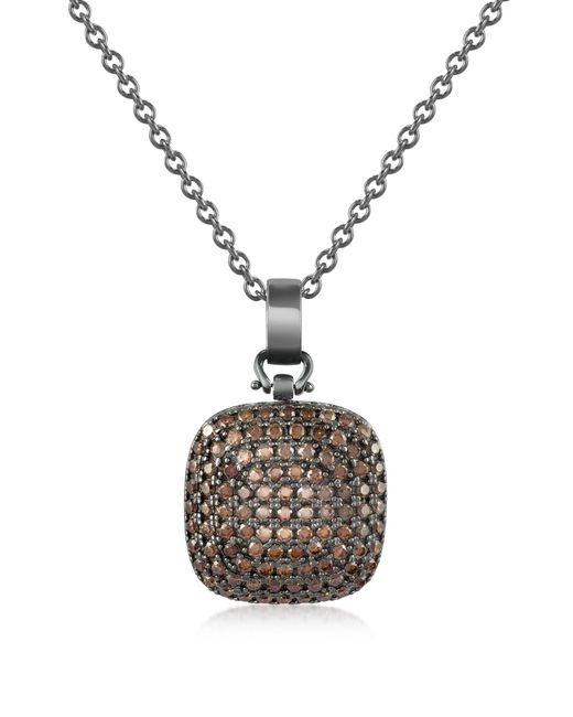 Azhar Black Cubic Zirconia And Sterling Silver Square Pendant Necklace