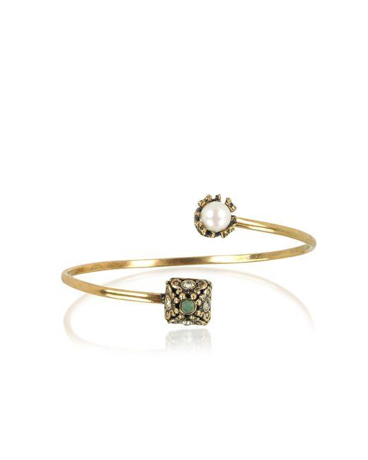 Alcozer & J Metallic Pyramid And Pearl Bracelet W/gemstones