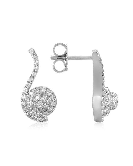Forzieri - 0.68 Ctw Diamond Pave 18k White Gold Earrings - Lyst
