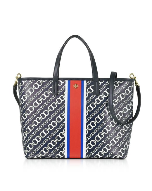 Tory Burch   Blue Gemini Link Navy Coated Canvas Small Tote Bag   Lyst