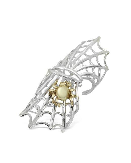 Bernard Delettrez - Metallic Spiderweb Silver And Bronze Articulated Ring - Lyst