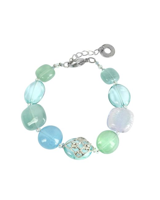 Antica Murrina | Florinda Top T Light Blue And Green Murano Glass Beads Bracelet | Lyst
