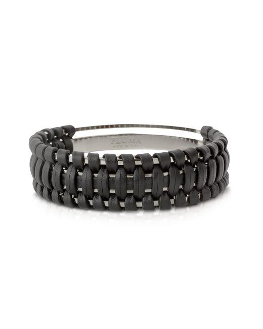 Pluma - Black Brass And Woven Leather Small Cuff In Fumoso - Lyst
