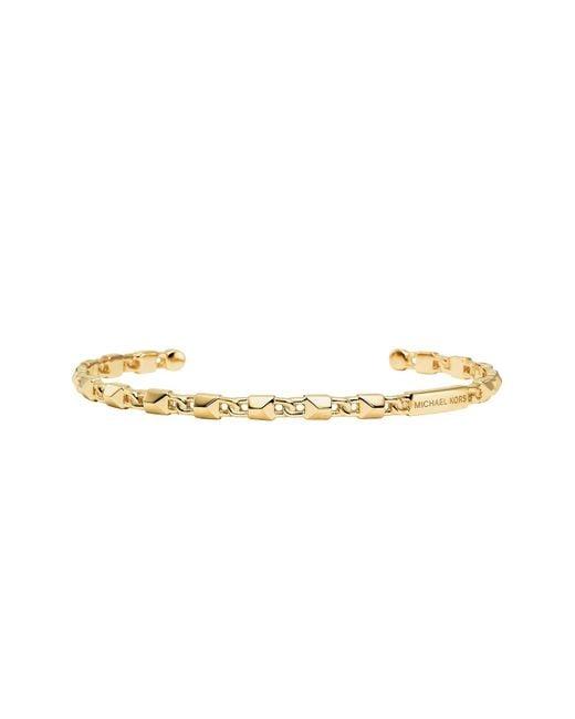 Michael Kors Metallic Mercer Link 14k Gold Plated Cuff Women's Bracelet