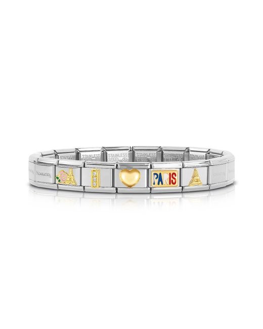 Nomination - Metallic Classic I Love Paris Gold And Stainless Steel Bracelet W/ Cubic Zirconia - Lyst