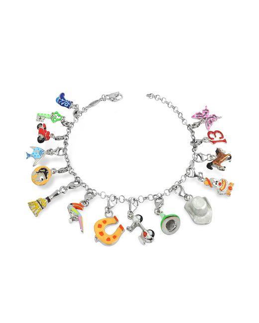Tedora - Metallic Sterling Silver Multicolor Charm Bracelet - Lyst