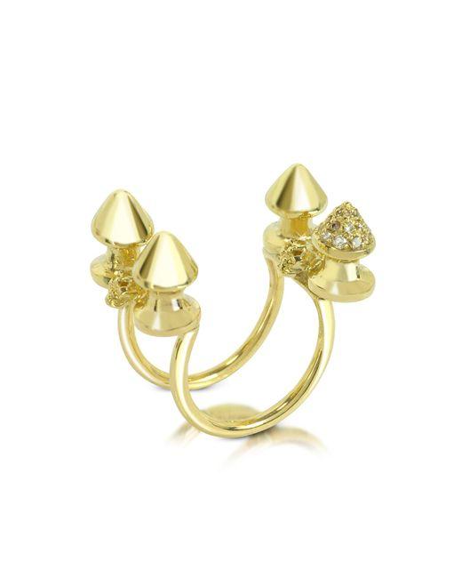 Bernard Delettrez | Metallic Four Studs Gold And Cognac Diamonds Ring | Lyst