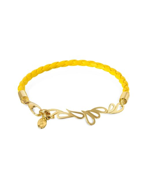 Sho London - Yellow Mari Fiendship Leather And Silver Vermeil Bangle - Lyst